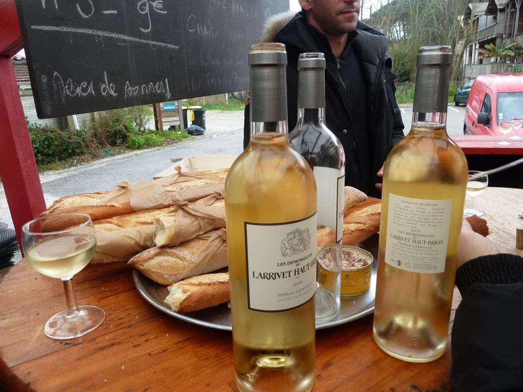 Baguette with excellent wine and Pâté