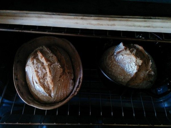 Half baked bread after the lid is removed